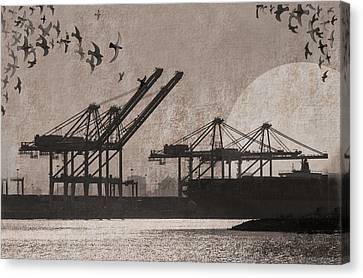 Ports Canvas Print - Port Of Oakland by Cori Pillows