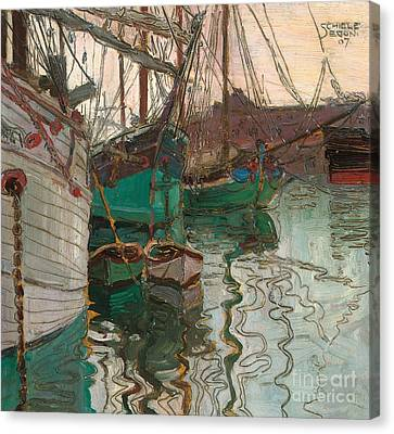 Port Of Trieste Canvas Print by Egon Schiele