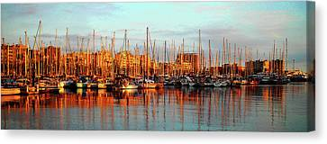 Sail Cloth Canvas Print - Port Vell - Barcelona by Juergen Weiss