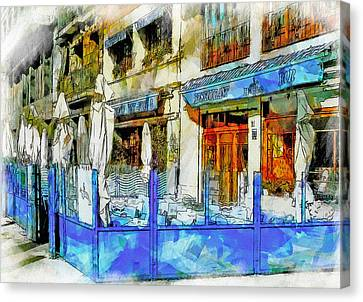 Port Town Canvas Print - Port Vell Seafood Place In Barcelona by Yury Malkov