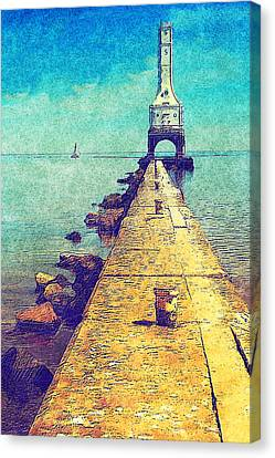 Port Washington Brakewall Canvas Print by Jack Zulli