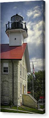 Red Roof Canvas Print - Port Washington Light Station by Joan Carroll