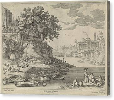 Rowboat Canvas Print - Port With Rowboats, Figures And Cattle, Willem Van by Artokoloro