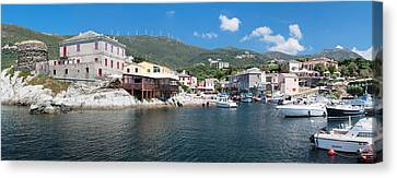 Port With Town At The Waterfront Canvas Print