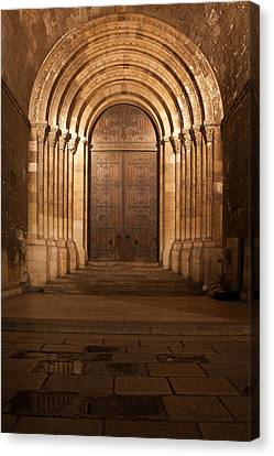 Portal Of The Lisbon Cathedral At Night In Portugal Canvas Print by Artur Bogacki