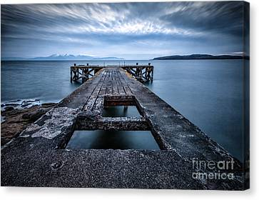 Portencross Pier  And Views To Arran Canvas Print