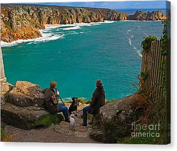 Porthcurno Bay And Logan Rock Canvas Print by Louise Heusinkveld