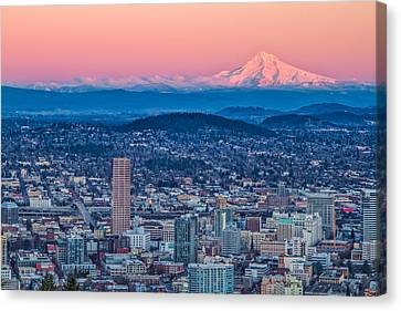 Portland And Mt Hood Canvas Print by Patricia Davidson
