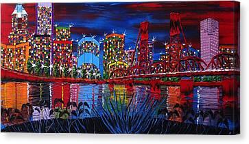 Portland City Lights 33 Canvas Print by Portland Art Creations