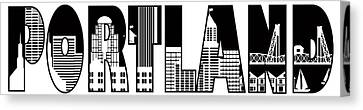 Portland City Skyline Text Outline Illustration Canvas Print
