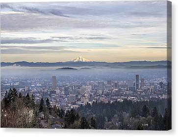 Portland Downtown Foggy Cityscape Canvas Print