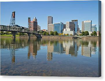 Canvas Print featuring the photograph Portland Downtown Skyline And Hawthorne Bridge by JPLDesigns