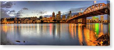 Portland Downtown Skyline Night Panorama 2 Canvas Print