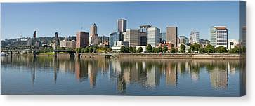 Canvas Print featuring the photograph Portland Downtown Waterfront Skyline Panorama by JPLDesigns