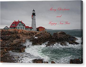 Canvas Print featuring the photograph Portland Head Light At Christmas by Richard Bean
