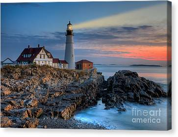 Portland Head Light At Sunrise I Canvas Print by Clarence Holmes