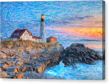 Keeper Canvas Print - Portland Head Light At Sunrise Impasto I by Clarence Holmes