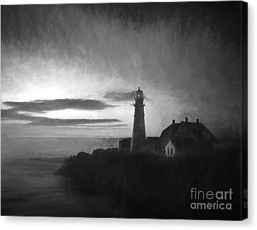 Portland Head Light At Sunrised Canvas Print by Diane Diederich