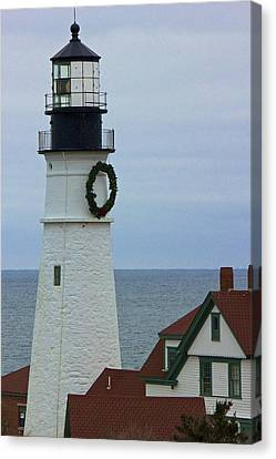 Canvas Print featuring the photograph Portland Head Lighthouse by Amazing Jules
