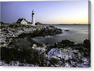Portland Head Lighthouse At Dawn Canvas Print by Betty Denise