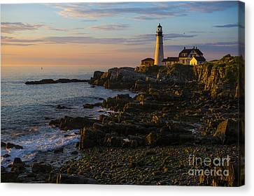 Portland Head Lighthouse At Dawn Canvas Print by Diane Diederich