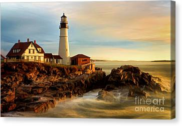 Portland Head Lighthouse At Dawn Canvas Print by Jerry Fornarotto