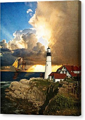 Rocky Maine Coast Canvas Print - Portland Head Lighthouse by Lianne Schneider