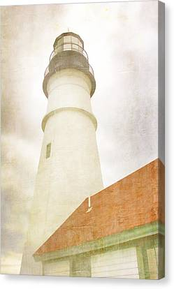 New England Lighthouse Canvas Print - Portland Head Lighthouse Maine by Carol Leigh