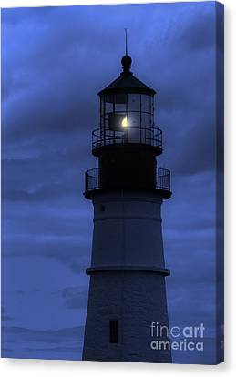 Portland Head Lighthouse Silhouette Canvas Print by Diane Diederich