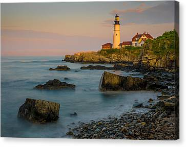 Canvas Print featuring the photograph Portland Head Lighthouse by Steve Zimic