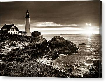Canvas Print featuring the photograph Portland Head Lighthouse Sunrise by Alana Ranney