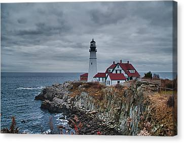 Canvas Print featuring the photograph Portland Headlight 14440 by Guy Whiteley