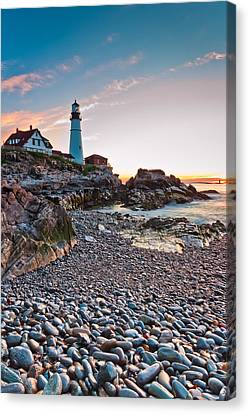 Portland Headlight Dawn Canvas Print