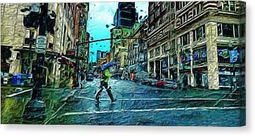Portland In The Rain Canvas Print by Cary Shapiro