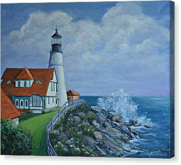Portland Light House Canvas Print by Suely Cassiano