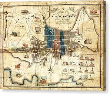 Portland Maine 1836 Map By John Cullum Canvas Print by Tim Sullivan