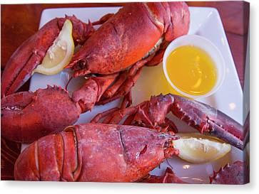 Chowder House Canvas Print - Portland, Maine, Lobster Dinner by Bill Bachmann