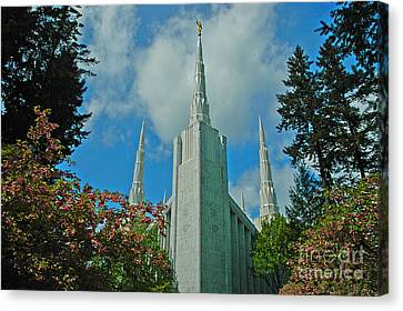 Portland Oregon Lds Temple Canvas Print by Nick  Boren
