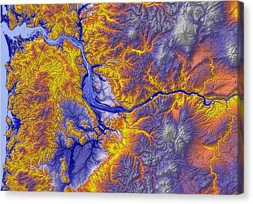Portland Oregon Map Art Canvas Print by Paul Hein
