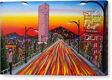 Portland Oregon Sign 14 Canvas Print by Portland Art Creations