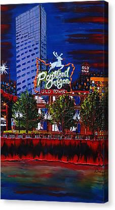 Portland Oregon Sign 15 Canvas Print by Portland Art Creations