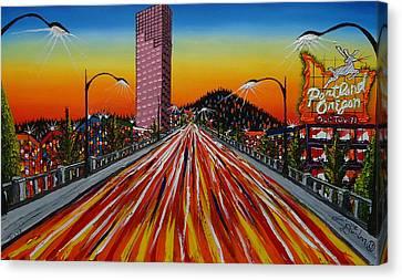 Portland Oregon Sign 19 Canvas Print by Portland Art Creations