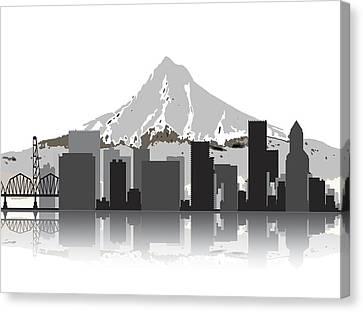 Nike Canvas Print - Portland Oregon Skyline 2 by Daniel Hagerman