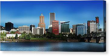 Canvas Print featuring the photograph Portland Oregon Skyline  by Aaron Berg
