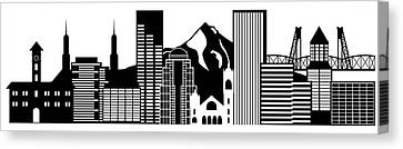 Portland Oregon Skyline Black And White Illustration Canvas Print