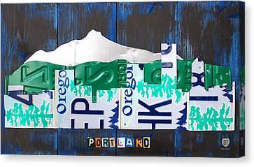 Portland Oregon Skyline License Plate Art Canvas Print by Design Turnpike