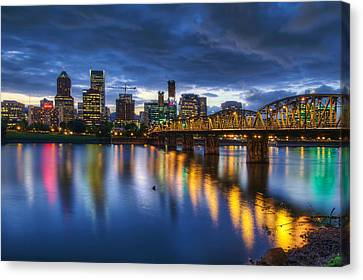 Portland Oregon Waterfront At Blue Hour Canvas Print by David Gn