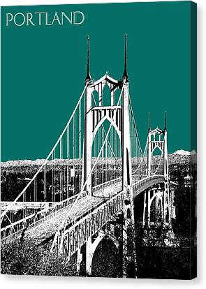 Portland Skyline St. Johns Bridge - Sea Green Canvas Print by DB Artist