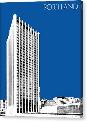 Portland Skyline Wells Fargo Building - Royal Blue Canvas Print by DB Artist