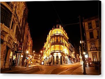 Porto Portugal At Night 1 Am Canvas Print
